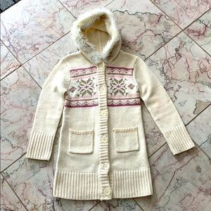 (3 for 25$) White Long Cardigan for 6Y
